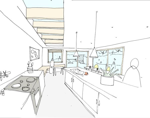 Internal sketch - rear extension