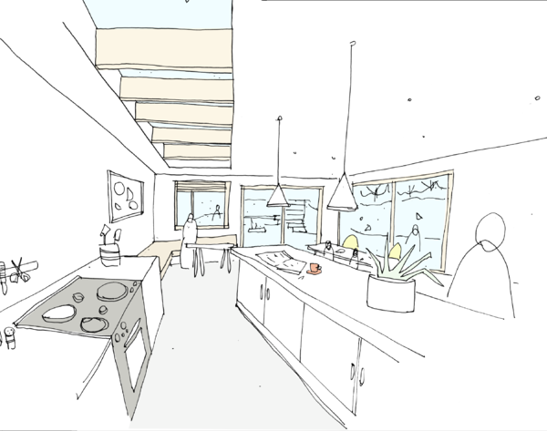 Internal sketch - rear extension