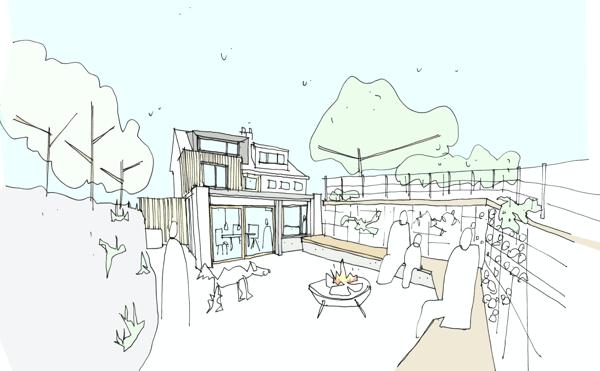 Marraum Architects_full house renovation_Crantock_rear sketch